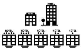Hotel Icons. Set of 7 hotel icons including multistory and star rating hotels vector illustration