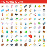100 hotel icons set, isometric 3d style. 100 hotel icons set in isometric 3d style for any design vector illustration Royalty Free Stock Images