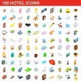100 hotel icons set, isometric 3d style. 100 hotel icons set in isometric 3d style for any design illustration vector illustration