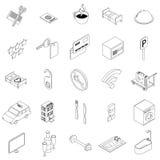 Hotel icons set, isometric 3d style Stock Photos