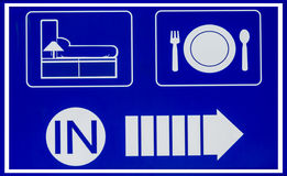 Hotel icons set in old blue background Stock Images