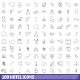 100 hotel icons set, outline style. 100 hotel icons set in outline style for any design vector illustration Stock Photo