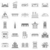 Hotel icons set, outline style Royalty Free Stock Image