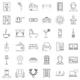 Hotel icons set, outline style. Hotel icons set. Outline style of 36 hotel vector icons for web isolated on white background Stock Photo