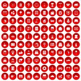 100 hotel icons set red. 100 hotel icons set in red circle isolated on white vector illustration Royalty Free Stock Photography