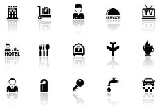 Hotel icons set with reflection silhouette Stock Images