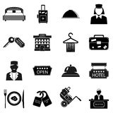 Hotel icons set, simple style Stock Images