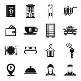 Hotel icons set in simple style. Stock Image