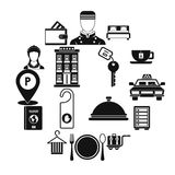 Hotel icons set in simple style. Stock Photo