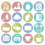 Hotel icons set. Vector white icons hotel set 16 with color circle royalty free illustration