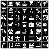 Hotel Icons - White on Black. Collection of 49 white hotel icons (or symbols) isolated on black background. Eps file available