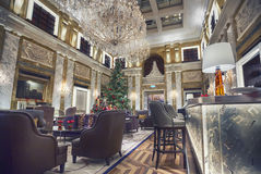Hotel Imperial in winter season, Vienna. Interior of Vienna Hotel Imperial in winter season Stock Photo