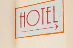 Hotel indicator at the wall in the city Royalty Free Stock Photo