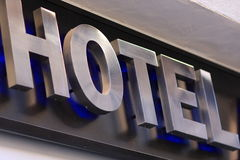 Hotel inscription on building royalty free stock photos
