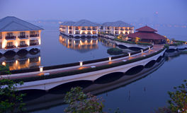 Hotel Intercontinental on West Lake, Hanoi at Dusk. Stock Image