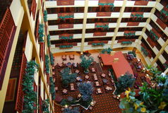 Hotel Interior. A view of the hotel interior from the top floor looking down Stock Photography