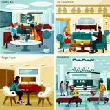 Hotel Interior Concept Icons Set Stock Image