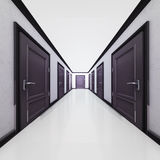 Hotel interior corridor with closed doors in 3D Stock Photos