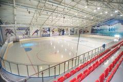 Hotel interior de la pista de patinaje en el pueblo de Kranevo, Bulgaria Foto de archivo