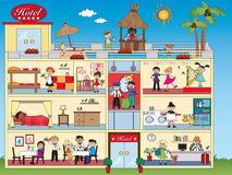 Hotel interior. Illustration of interior hotel with happy people stock illustration