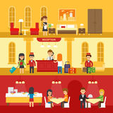 Hotel interior with people and hotel service vector flat illustration. Hotel reception, room, dining room vector design Stock Photos