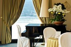 Hotel interior with piano Stock Photos