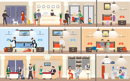Hotel interior set. Reception and rooms, restaurant and laundry vector illustration