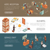 Hotel Isometric Horizontal Banners Stock Photography