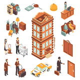 Hotel Isometric Icons Set. With modern multistory hotel building yellow taxi car reception bellman maid and visitors persons vector illustration Stock Photos