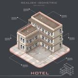 Hotel isometrico di vettore Fotografia Stock Libera da Diritti