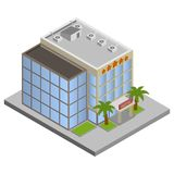 Hotel isometrische de bouw Stock Afbeeldingen