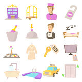 Hotel items set, cartoon style Stock Photos