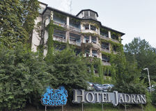 Hotel Jadran facade on the lake Bled, Slovenia. Royalty Free Stock Images