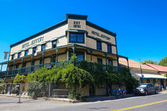 Hotel Jeffery in Coulterville, California stock photo