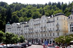 Hotel in Karlovy Vary. In the 19th century, it became a popular tourist destination, especially known for international celebrities visiting for spa treatment Royalty Free Stock Image
