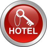 Hotel key icon web button. Hotel booking key icon web button - Vector illustration isolated on white background vector illustration