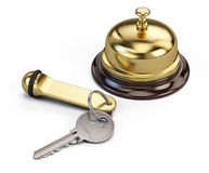 Hotel key and reception bell. 3d render Stock Photography