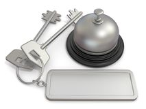 Hotel key with rectangular blank label on ring and reception bell. 3D Stock Image