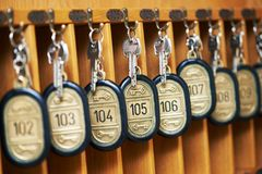 Hotel keys in cabinet Stock Images