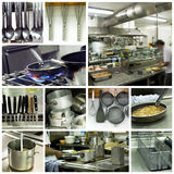 Hotel Kitchen Collage Royalty Free Stock Photos