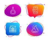 Hotel, koniak butelka i Smartphone powiadomienie ikony ustawia?, Gor?cy sprzeda? znak wektor royalty ilustracja