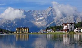 Hotel and lake at Misurina Royalty Free Stock Photo