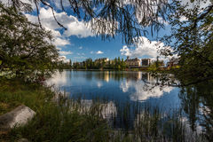 Hotel by the lake. Photo from area of Strbske Pleso/tarn/ was taken in High Tatras national park, Slovakia stock photos