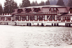 Hotel on Lake in wintertime Royalty Free Stock Images