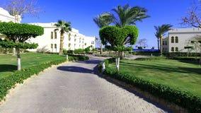 Hotel landscape Egypt. Landscape design Bedouin house Egypt Stock Photos