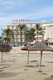 Hotel Las Arenas and winter beach Royalty Free Stock Image