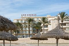 Hotel Las Arenas and winter beach Royalty Free Stock Photo