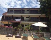 Hotel laterale della spiaggia Fotografia Stock
