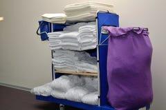 Hotel laundry on Wagon Stock Images