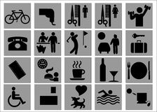 Hotel and Leisure Signs / Symbols. Set of signs / symbols indicating facilities available at hotel Royalty Free Stock Images